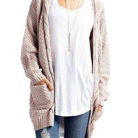 Women's Beige Casual Long Sleeve Cable Knitted Long Sweater Open Cardigan Jacket