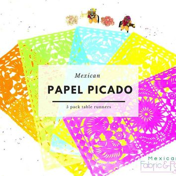 Papel picado table runners, Mexican theme party Decorations, Fiesta bridal shower decor