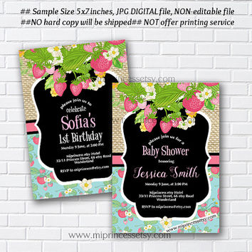 Strawberry Birthday Invitation, baby shower, party invitation, summer, kids any age, 1st 2nd 3rd 4th 5th 6th 7th 8th 9th 10th  - card 982