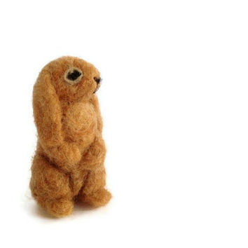 Miniature Rabbit Soft Sculpture Needle Felted Bunny by Knittynudo