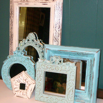 6 Shades of the Beach Distressed Wall Mirrors Robins Egg Blue, Sea Foam Green & Vintage White