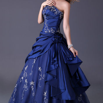 Blue Off-Shoulder Beaded Ruched Quinceanera Ball Gown