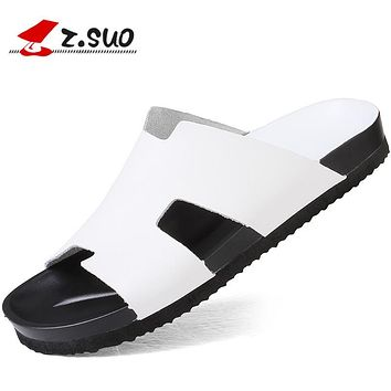 Z.Suo 2017 Brand Men's Flip Flops Genuine Leather Slippers Waterproof Slides Summer White Black Beach Sandals Shoes For Men 100T