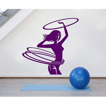 Vinyl Wall Decal Hula Hup Sport Gymnastics Gym Fitness Girl Stickers (2686ig)