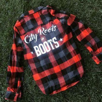 City Roots in Boots' Red/Orange Women's Logo Flannel