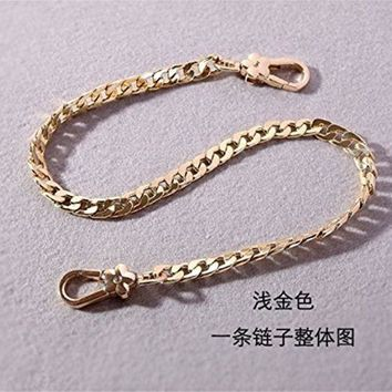 ONETOW Flower clasp Flat Metal Chain For messenger bags Replacement Purse Strap / bag strap / handbag straps / shoulder strap DIY (Golden, 55 inch)