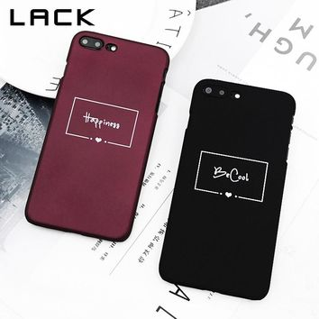 LACK Wine Red Couples Phone Case For iphone 7 Case For iphone 7 Plus Back Cover Simple Letter Love Heart Cases Hard Slim Capa