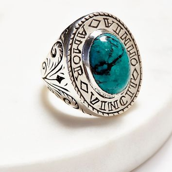 Free People Amour Silver Turquoise Signet Ring