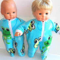 """American Girl Bitty Baby Clothes 15"""" Doll Clothes Boy or Girl Turquoise Blue Frog or Turtle Print Zip Up Polar Fleece Pajamas"""