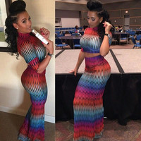 Sexy long sleeve printed two-piece dress
