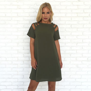 On My Mind Olive Shift Dress