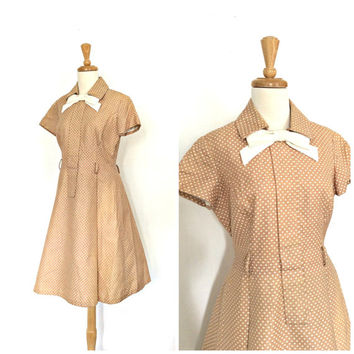 1950s Dress / 50s party dress / full skirt / polka dot / rockabilly / lucy dress / country wedding / S M
