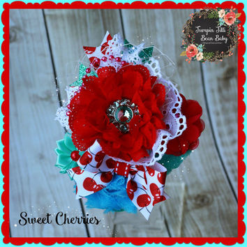Boutique Custom Sweet Cherries Easter OTT Glamour Bloom Hair Flower clip headband