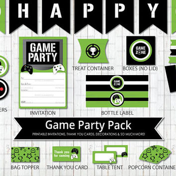 Printable Party Pack, Video Game Party, Game On, Green, Teen, Gaming, Level Up, Gamer, Birthday, Decorations, DIY,  INSTANT DOWNLOAD