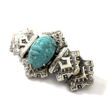 Art Deco Egyptian Revival Silver Tone Brooch, Turquoise Faux Scarab, Antique Silver Tone, Ornate Repouse Bar Brooch, Vintage Statement