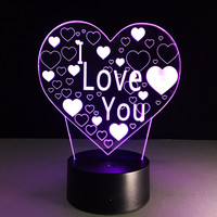 I LOVE YOU 3D Changing Colors LED Desktop Lamp