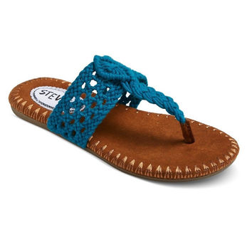 Stevies Girls' #adorableknits Crochet Flip Flop Sandals, Medium 1/2, Turquoise