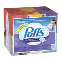 Puffs Ultra Soft and Strong Facial Tissues, 6 Pack of 124-Count Family Boxes (Packaging May Vary)   deviazon.com