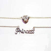 SUPREME: Princess Monogram and Heart Crystal Rose Gold Necklace