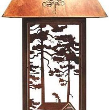 Wilderness Cabin Laser Cut Metal Table Lamp