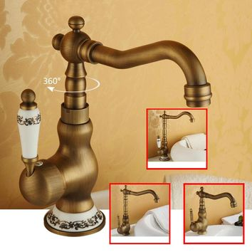 Bathroom Sink Faucet Antique Bronze 360 Degree Turn Basin Faucet Water Tap Single Handle Cold and Hot Water