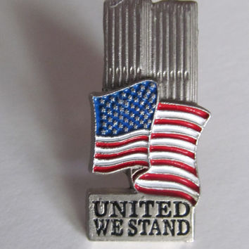 NYC Twin Towers USA Flag Brooch World Trade Center Push Pin United We Stand Patriotic Jewelry American Flag Jewelry