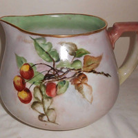 Limoges Pitcher Hand Painted Cherries Cider/Lemonade Pitcher W.G & Co Wm. Guerin Antique Home Entertaining 1891 - 1932