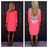 Pink Long Sleeve Back Cowl Crochet Lace Mini Dress