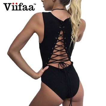 Viifaa 2017 Backless Lace Up Bodysuit Women Sleeveless Jumpsuit Overalls Sexy Body Femme Black Rompers