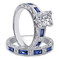 Engagement Ring - Cushion Diamond engagement ring & matching wedding band bridal set with round diamonds and blue sapphire accents engraved vintage band 1.02 tcw - ES637CU