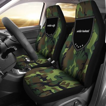 Family Trophy Soldier Wife Soldier Husband Gifts For Couples Car Seat Cover Set - Free Shipping, Guarantee & Insurance + Free Auto Gift Bonus