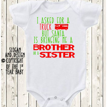 Big Brother Christmas pregnancy announcement idea Onesuit ® brand bodysuit or  t-shirt Funny Santa is bringing me a brother, sister, or baby