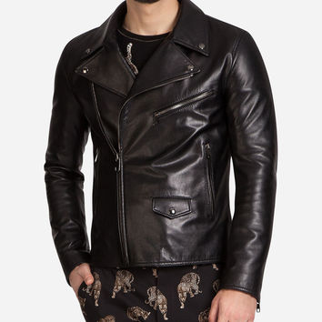 Biker Jacket In Lambskin Leather With Print - Men | Dolce&Gabbana