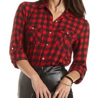 High-Low Button-Up Plaid Top by Charlotte Russe - Red Combo