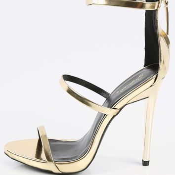 Qupid Gladly-01 Triple Strap Metallic Heels