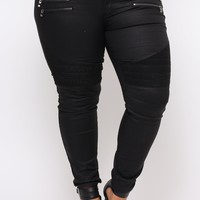 Plus Size Skinny Coated Moto Jean - Black