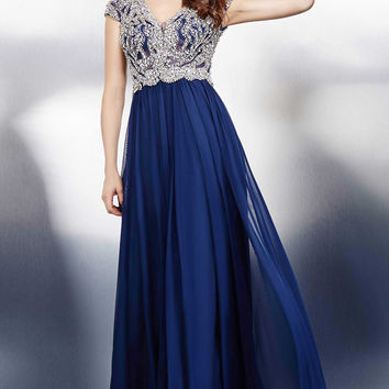 Navy Crystal Embellished Dress 23356