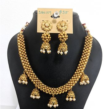 Ball Gold imitation jhumka hanging Choker Necklace and Earring set