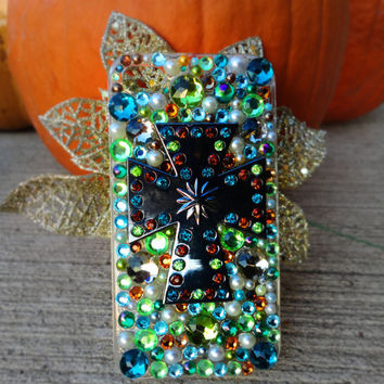 Green, Blue, Orange & Pearl Custom iPhone 4/4S Case- Green Earth