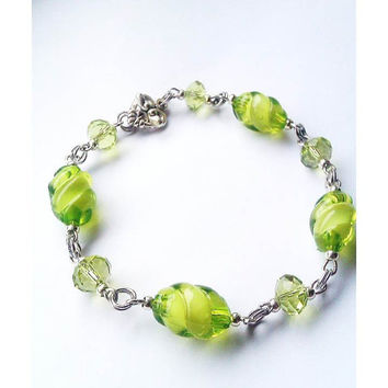 Green Crystal Bracelet with Vintage Heart Clasp