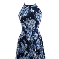 Floral Print High Neck Skater Dress
