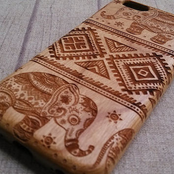 Wood iPhone Elephant design iPhone 5/5s/5c Case iPhone 6 Plus Case Samsung Galaxy  Case Covers Gift