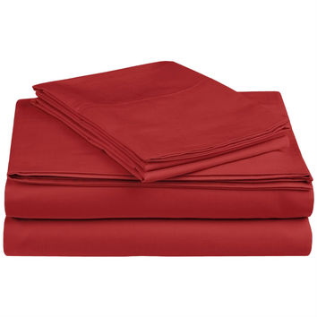 Twin size Ultra-Soft 100% Cotton Percale Sheet Set in Red Rosewood