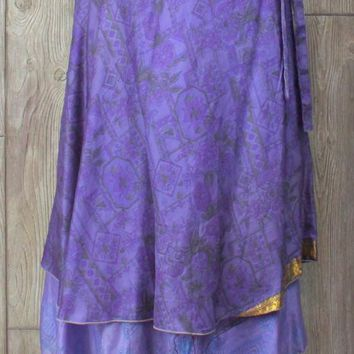Nice Recycled Silk Reversible Wrap Skirt L XL size Layered Purple Gold Lightweight