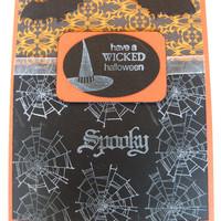 2 Blank Spooky Halloween Greeting Cards, Handmade, Witch Hat