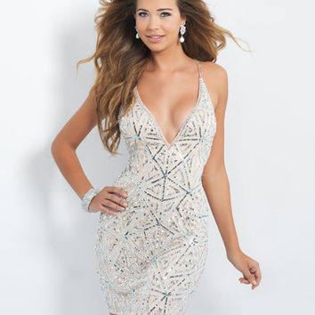 Amdml Classical All-over Sequined Straight Mini Cocktail Dresses Fantasy Criss-Cross Straps With Beaded Formal Party Dresses