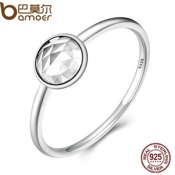 100% 925 Sterling Silver April Birthstone Droplet, Rock Crystal Finger Ring Women Wedding Birthday Gift Jewelry PA7610
