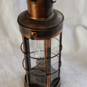 Minature Oil Hurricane Lamp with Glass and Brass Carrier