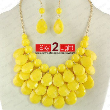 womens yellow Necklace and Earrings set Bubble Necklace wedding necklace yellow Bib Necklace Drop Shape Necklace Statement Necklace