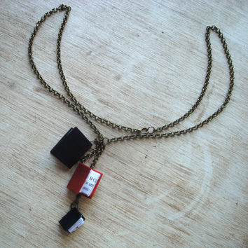 Les Mis Red And Black Miniature Book Necklace